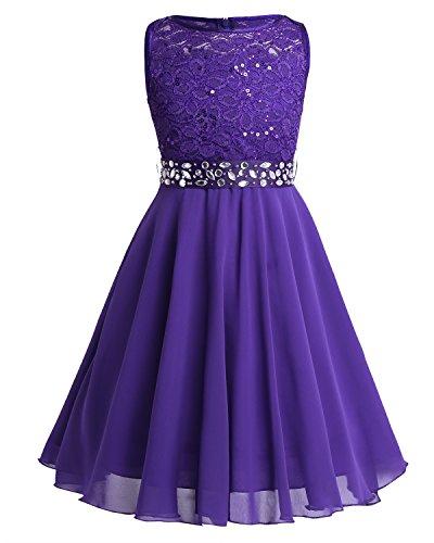 TiaoBug Festlich Mädchen Kleid für Kinder Prinzessin Spitzen Kleider Hochzeit Blumenmädchenkleid 92 104 116 128 140 152 164 Violett 128