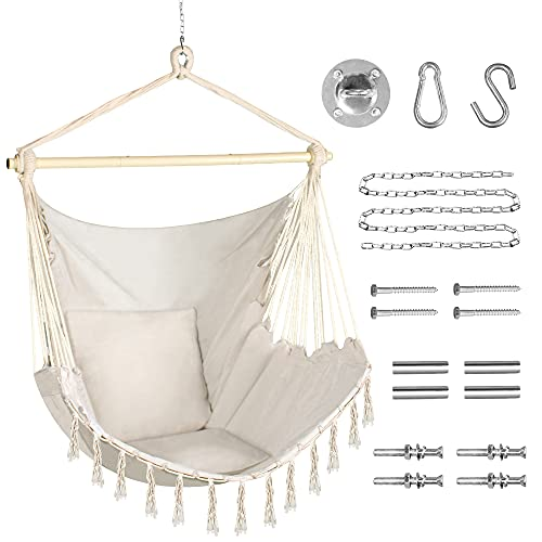 PUREKEA Oversized Hammock Chair with Hanging Hardware Kit, Swing Chair for Indoor & Outdoor, Max 330 Lbs, Include Carry Bag & Two Soft Seat Cushions (Beige)