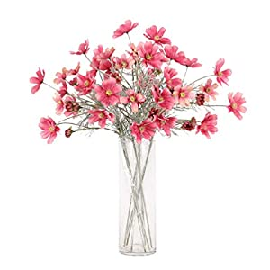 LEMON. Floral 2Pieces 23.6″ Long of 6 Head Cosmos Artificial Flower Artificial Flowers Fake Flower for Wedding Home Office Party Hotel Restaurant Patio or Yard Decoration(Red)
