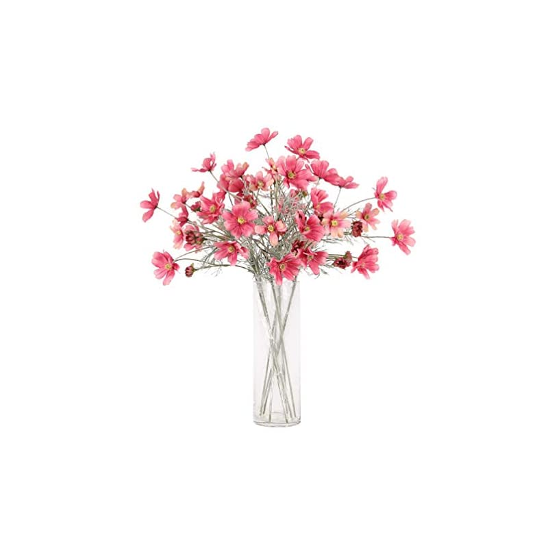 """silk flower arrangements lemon. floral 2pieces 23.6"""" long of 6 head cosmos artificial flower artificial flowers fake flower for wedding home office party hotel restaurant patio or yard decoration(red)"""