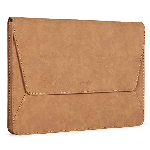 MOSISO Laptop Sleeve Bag Compatible with MacBook Air 13 inch A2337 M1 A2179 A1932, 13 inch MacBook Pro A2338 M1 A2289 A2251 A2159 A1989 A1706 A1708, PU Leather Ultra Slim Flap Style Case, Brwon