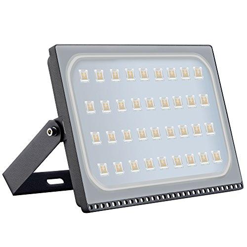 Proyector LED para exteriores, reflector IP67, diseño ultradelgado y ultraligero [Clase de eficiencia energética A ++] (200W, Blanco Cálido)
