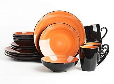 HomeVss Sonoma 16 Piece Stoneware Dinner Set, Outside Black + Inside Handpainted Color Orange