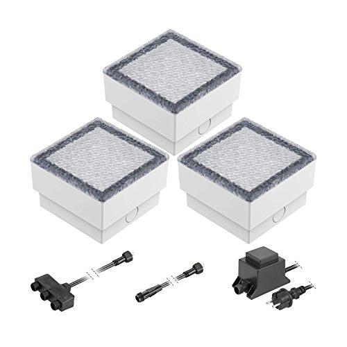 ledscom.de LED Pflaster-Stein Gorgon Boden-Einbauleuchte für außen, 10x10cm, 12V, warm-weiß 3er Set