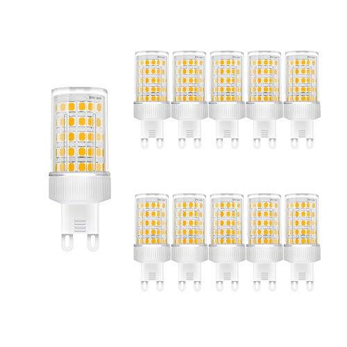 Bombilla LED G9 de 10W, Blanco cálido 3000k, High Light 800LM, Lámparas Halógenas Equivalentes a 80W/ AC 220-240V/ SMD 2835/No regulable, Pack de 10 Unidades