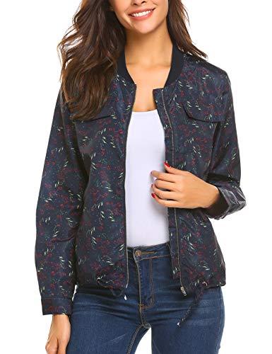 Beyove Damen Blumen Bomberjacke Kurzejacke mit Reißverschluss Floral Bomer Sport Jacke Outwear Mantel Langarm Übergangsjacke Streetwear...