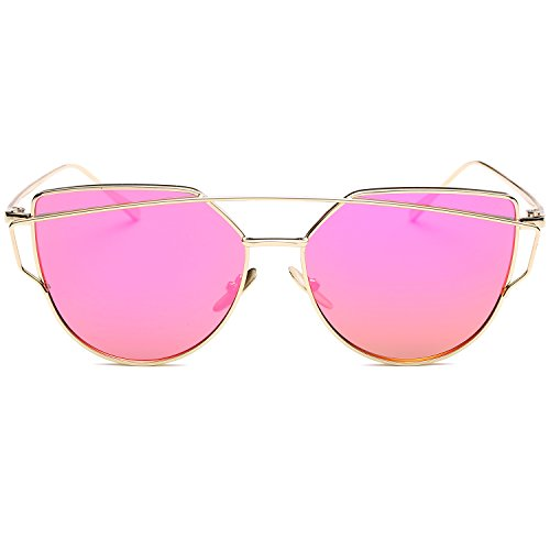 SOJOS Katzenauge Metall Rand Rahmen Damen Frau Mode Sonnenbrille Verspiegelt Linse Women Sunglasses SJ1001 mit Gold Rahmen/Roserot Linse