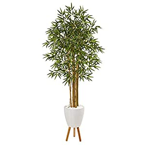 Nearly Natural 74in. Multi Bambusa Bamboo Artificial White Planter with Stand Silk Trees, Green