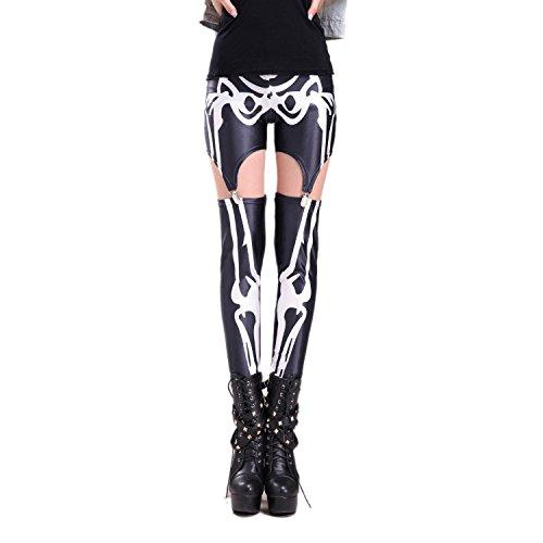 Rubberfashion Straps Leggings skelet, glanzende straps leggings met skeletmotief tot aan de heup, voor vrouwen en meisjes, aantal: 1 stuk