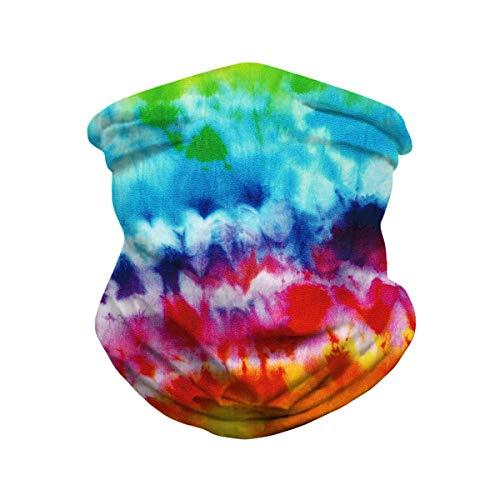 Unisex Seamless Rave Bandanas Balaclavas for Men Rainbow Tie Dye Print Tube Face Neck Gaiter Scarf UV Sun Protection Cycling Scarf for Women Sports Fishing Motorcycle Ridding Colorful Bandhnu One Size