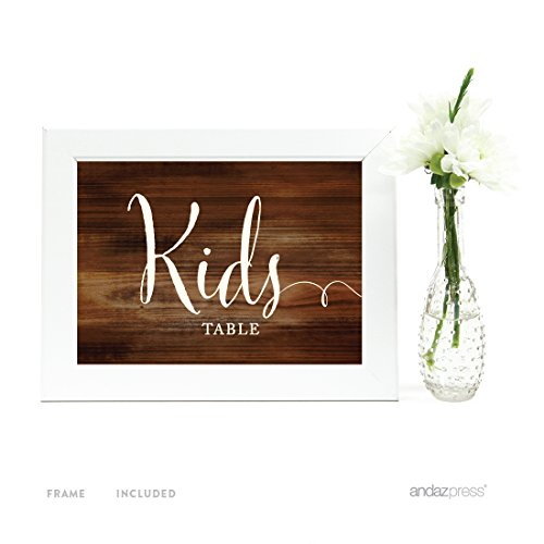 Andaz Press Wedding Framed Party Signs, Rustic Wood Print, 5x7-inch, For Happy Tears Tissue Kleenex Ceremony Sign, 1-Pack, Includes Frame