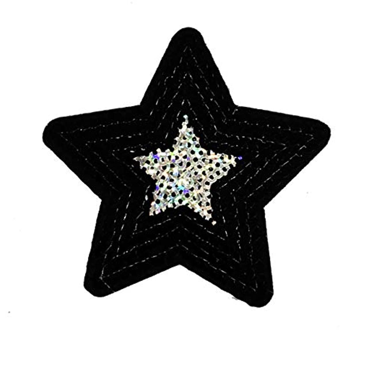 Black Star Sequined Patch Embroidered Iron on Patch No.2