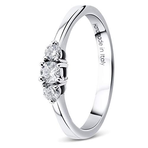 Orovi Damen Diamant Ring Weißgold, Verlobungsring 9 Karat (375) Gold und Diamanten Brillanten 0.23 Ct, Trio Diamant Ring Ring Handgemacht in Italien