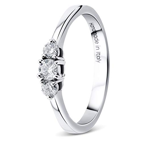 O 18CT oro blanco diamante solitario anillo de aspecto Tamaños Disponibles J M K N P