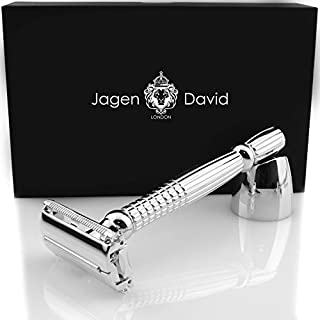 Long Handle Safety Razor Butterfly Double Edge Compatible with All Double Edge Razor Blades l Jagen David ® B40 (Extra Long - Silver)