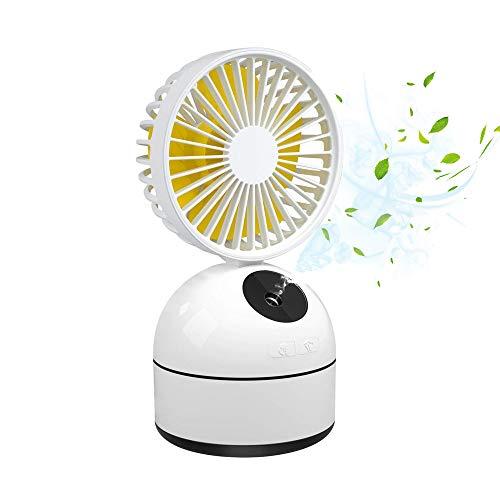LUXNOVAQ Mini Ventilador USB Fan Ventilador Nebulizador, Mesa Ventilador Portatil Humidificador Pequeño Refrigeracion Ventiladores Recargable a Pilas con Rocío de Agua para Oficina Niña, Blanco