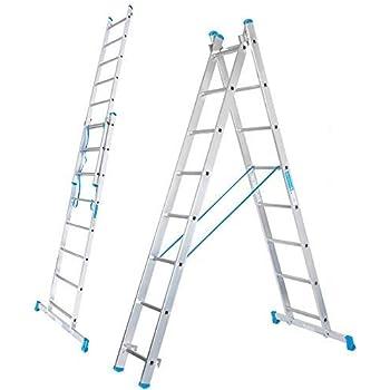 Packer PRO - Escalera Transformable 2 Tramos 8+8 Peldaños Plegable Super Resistente hasta 150Kg de Acero y Aluminio con relieves Antideslizantes para Altura de Trabajo hasta 457cm: Amazon.es: Bricolaje y herramientas