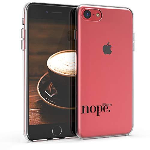 kwmobile Funda Compatible con Apple iPhone 7/8 / SE (2020) - Carcasa de TPU y Nope en Negro/Transparente