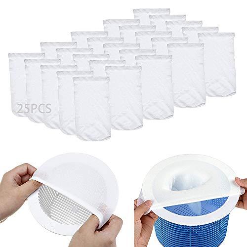 MEISHANG 25PCS Pool Skimmer Socks,Perfekte Filterschoner Zum Schutz Ihrer Filter,Schwimmbad Skimmer Filter Sieb Netz,Skimmerkorb Netz,Skimmer Socken Gross,Schwimmbad Skimmer Socken,Skimmer Netz