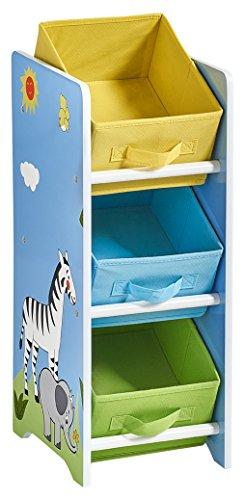 Zeller Kinder-Regal mit Vlies Box Safari, MDF, Dekor, 23.5 x 30 x 65 cm