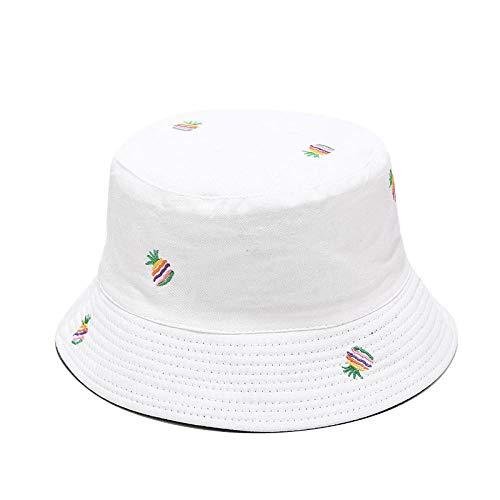 Chapeau Bob Femme Ananas Broderie Double Face Chapeau De Pêcheur Hommes Et Femmes en Plein Air Crème Solaire Chapeau De Soleil Étudiant Voyage Chapeaux Sauvages-Blanc