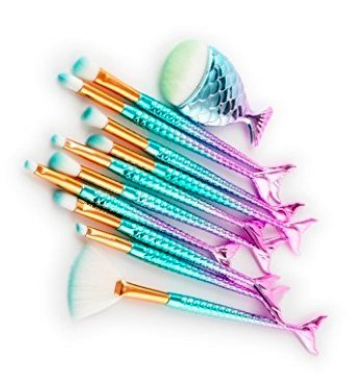 住居バナー過半数SYNC マーメイドブラシ メイクアップブラシ 10+1 11本セット 極細毛 フェイスケア ナイロン製 化粧筆
