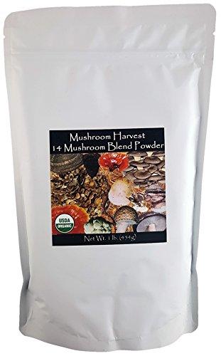 14 Mushroom Blend Powder Certified Organic 1lb. Bulk