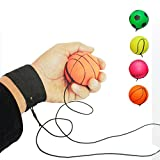 ZUYEE Wrist Band Ball Rubber High Bounce with Velcro Wrist & Elastic String Rebound Bouncy Balls On String for Finger Stiffness Relief Wrist Exercise,Children Gift Sport Toy Balls (Pack of 4)