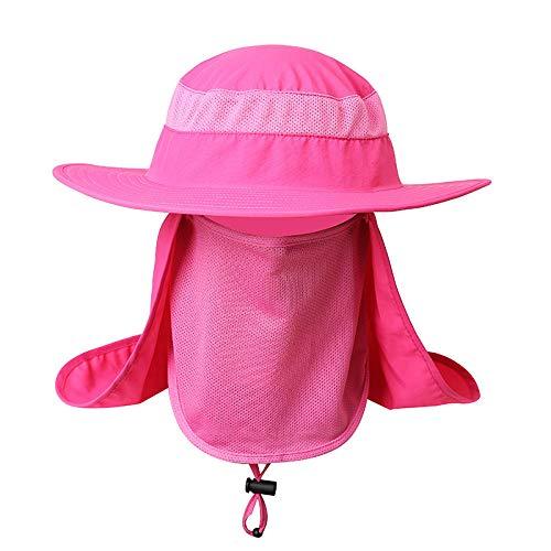 Protector Solar al Aire Libre Soles de Pesca Anti UV Protección Daiva Cara Cuello Solapa Gorra para el Sol Diadema Sombrero para la Lluvia Gorra Pesca Senderismo-Rosa
