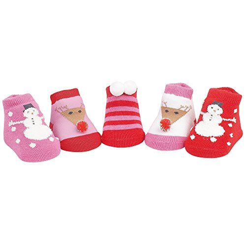 Country Kids Baby Girls' Snowman Reindeer Christmas Holiday Stocking Socks, 5 Pair Gift Set, Fits Newborn up to 3 Months