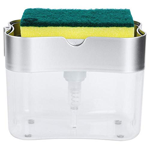 xuuyuu ソープディスペンサー スポンジ置き付 食器用洗剤 詰め替え スポンジホルダー キッチン 台所用品 清潔 掃除 道具 ツール おしゃれ(シルバー)