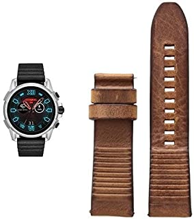 Mens Diesel ON Full Guard 2.5 Touchscreen Smartwatch Stainless Steel Black Silicone Band,Model (DZT2008) with 24mm Strap DZT0003, Color: Dark Brown