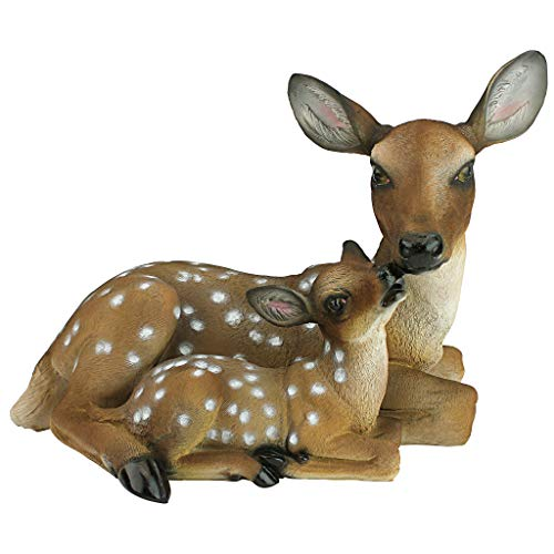 Design Toscano QL55949 Mothers Love Doe and Fawn Garden Animal Statue, 19 Inch, Polyresin, Full Color