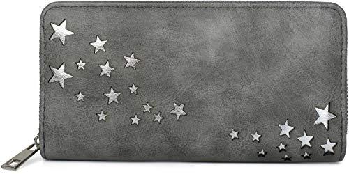 styleBREAKER Damen Portemonnaie mit Metallic Stern Cut-Outs, Reißverschluss, Geldbörse 02040115, Farbe:Dunkelgrau