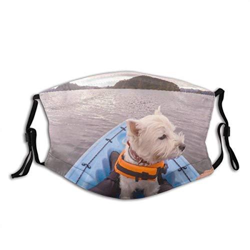 Gesichtsschutz Mundschutz West Highland White Terrier Westie Hund mit Schwimmweste Kajak Fahren in Paihia Bay of Islands Neuseeland Neuseeland Mund Bandanas mit 2 Filtern