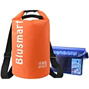 Blusmart 10L/20L Waterproof Dry Bags + Waterproof Waist Pouch, Perfect for Kayaking / Boating / Canoeing / Fishing / Rafting / Swimming / Camping / Snowboarding(20L Orange)