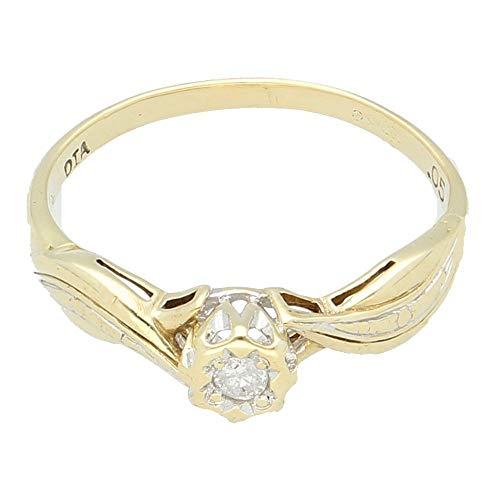 Anillo solitario para mujer de oro amarillo de 9 quilates con diamante (tamaño N) cabeza de 5 mm de ancho, anillo de lujo para mujer