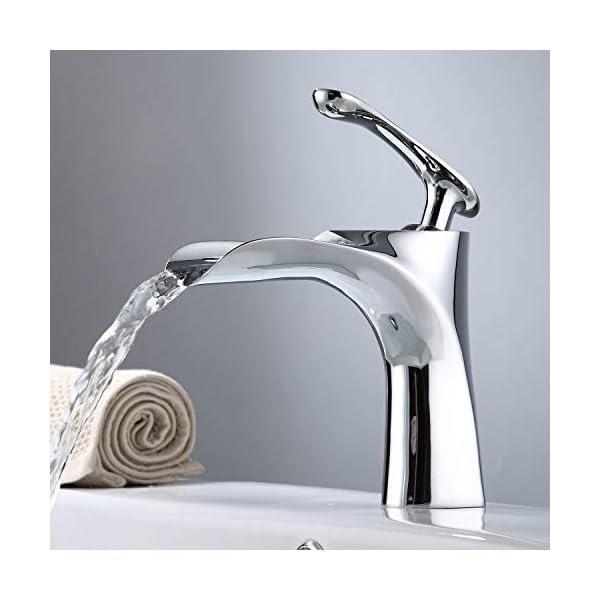 NEWRAIN Cascada Grifos de lavabo,Cromado Grifo de Lavavo Grifo de Baño Grifo de Cuenca Mezclador Agua Fría y Caliente…