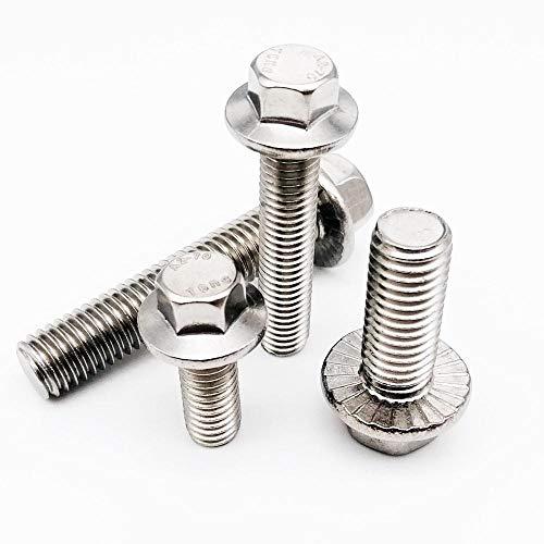 1/10 Uds M5 M6 M8 M10 M12 A2-70 304 de acero inoxidable GB5787 cabeza hexagonal con brida dentada Tornillo de cabeza hexagonal con arandela, 20 mm, 10 Uds M6