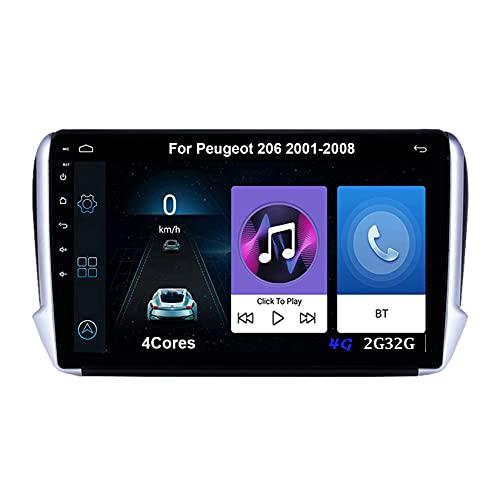 Autoradio Android Car Radio Stereo 9 Pulgadas Pantalla Táctil Para PEUGEOT 2008 2013-2020 Conecta Y Reproduce Cámara De Respaldo Estéreo De Coche Auto Dvd Player (Color : 4Cores 4G 2G32G)