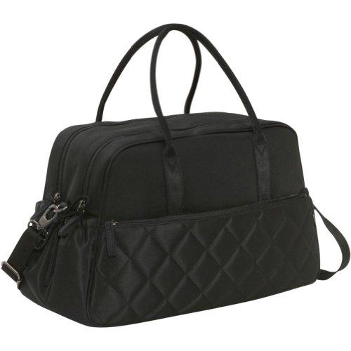 OiOi Diamond Quilt Carry All - Bolso cambiador (con accesorios, forro de color gris), color negro