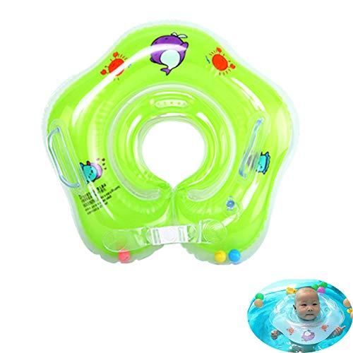 Babypool-Schwimmer, Baby Hals Schwimmring, aufblasbare Kinder Schwimmen Schwimmer, Baby-Schwimm-Hals-Ring mit Glocken, Kinder-Schwimm-Hals-Ring, Schwimmring Halsring für Alter 0-3-Blue (Grün)