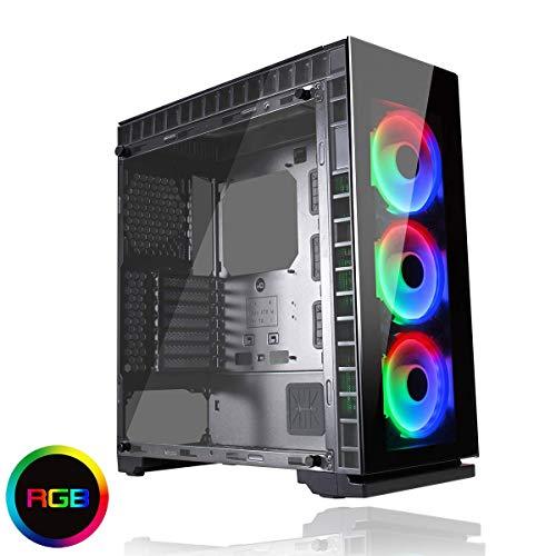 Game Max Spectrum gehärtetem Glas RGB Gaming Fall mit 3 x 12 cm Ring Lüfter – Schwarz