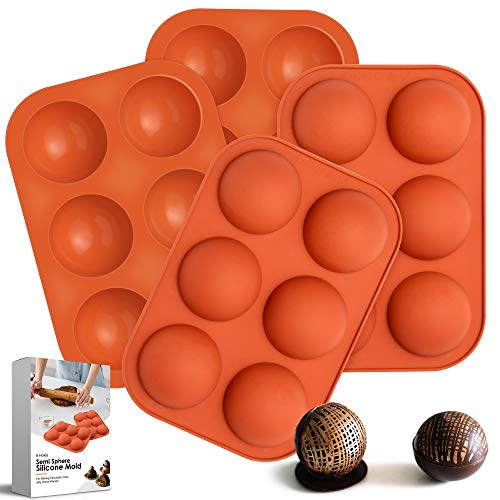 6-Holes Medium Semi Sphere Silicone Molds for Chocolate,Baking Mold for Making Hot Chocolate Bombs,Cake,Jelly,Pudding,Dome Mousse,Handmade Soap,Round Mold Non Stick,BPA Free Cupcake Baking Pan. (4)