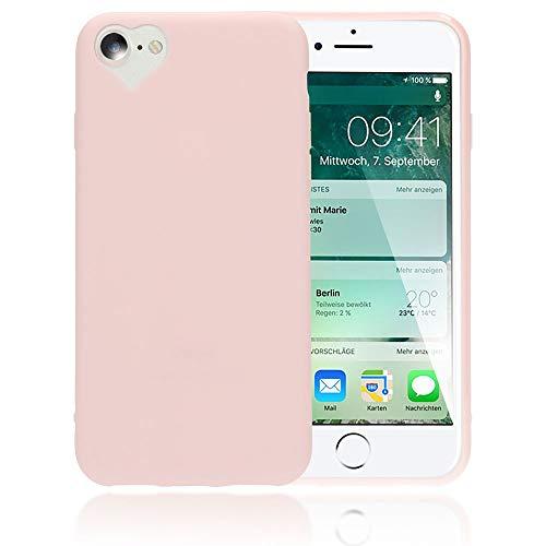 NALIA Cover Cuore compatibile con iPhone SE 2020/8 / 7 Custodia, Protettiva Morbido Silicone Copertura Sottile Gomma Gel Bumper, Ultra-Slim Case Skin Antiurto Guscio Grip Etui, Colore:Rosa