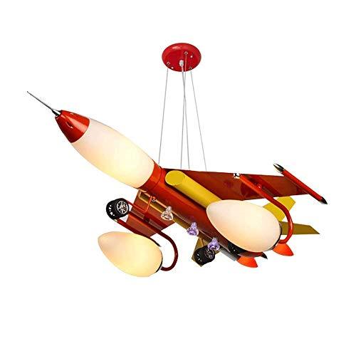 ZHUO Candelabros de hierro de dibujos animados for niños Creativo LED Rojo En forma de avión Iluminación de vidrio Araña de luces decorativa Lámparas de techo Nordic Kindergarten Cafe Colgante de luz