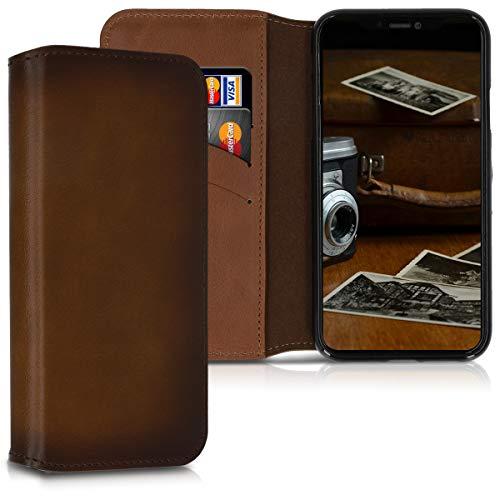 kalibri Funda Compatible conApple iPhone XR -Carcasa de Cuero con Soporte y Tarjetero con Tapa marrón Vintage
