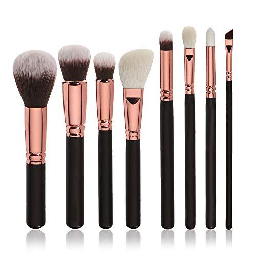 MEIYY Pinceau de maquillage Make Up 8Pcs Makeup Brush Blusher Eye Shadow Brush Foundation Eyebrow Brushes Set Kits Black Beauty
