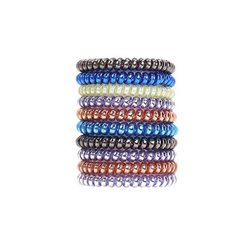 Haargummi Spirale, Original Haargummis, Telefonkabel haargummi elastisch Haarband, Spirale Telefonkabel Anti Spliss Zopfgummi Fitness Haarband Spiral Haargummi (10 Stück, A)