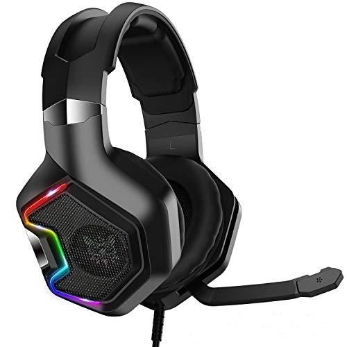 Gamer-Headset, PS4 7.1 Surround Sound Pro Gaming-Headset mit Mikrofon und RGB-LED-Licht, für PS4 Xbox One Nintendo Switch PC GameCube Computer Tablet